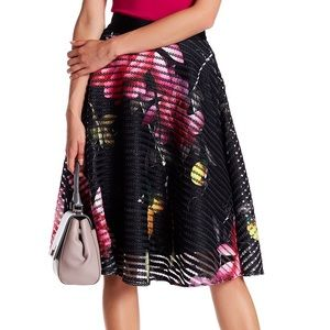 TED BAKER Black Yellow Pink London Bloom Skirt